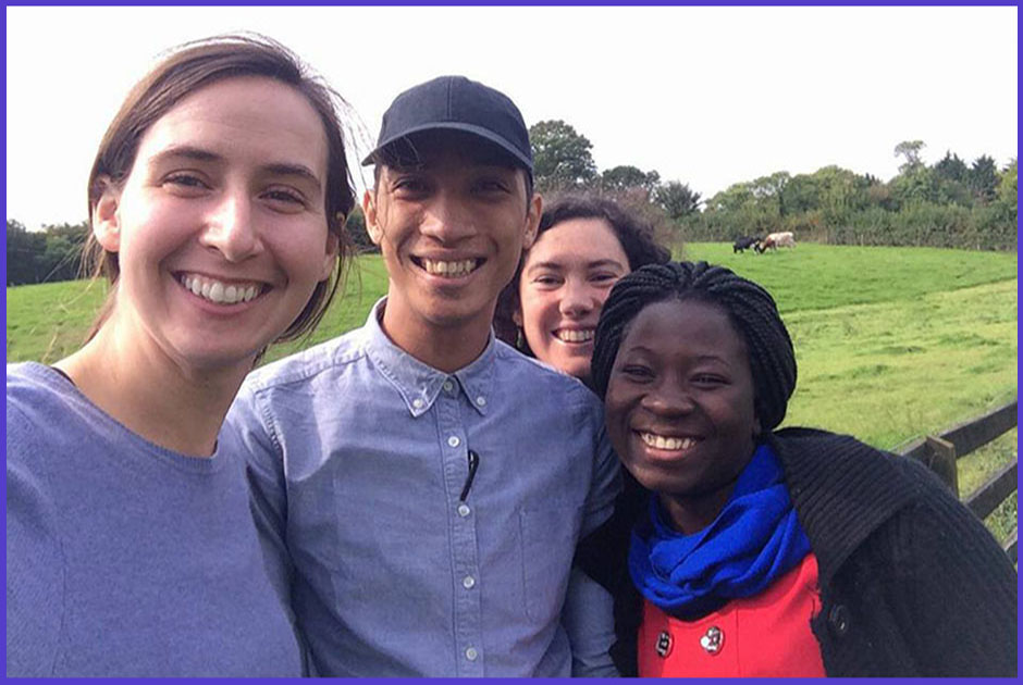 Shakirah Nansikombi at her project in the Republic of Ireland, socializing with other volunteers as a way of sharing transferable skills and making new critical friends.